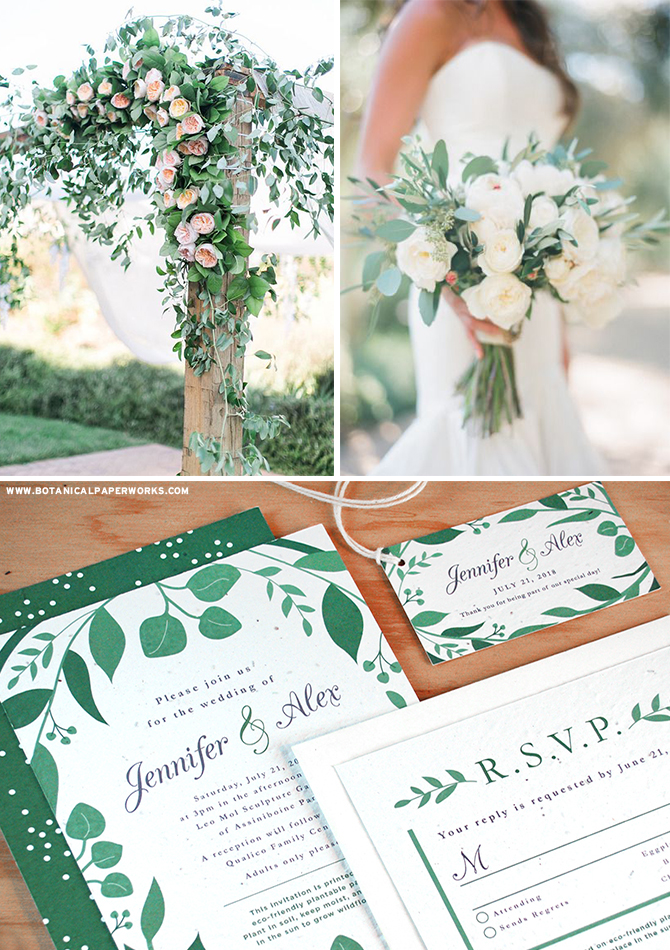 The Classic Greenery #Plantable Wedding Collection was created for couples who love lush greenery & the natural allure of enchanting #gardens. See more #greenery inspiration & take a look at more pieces in this NEW #ecofriendly #wedding collection!