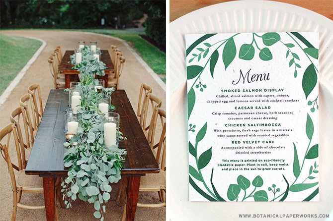 Lively greenery has the power to add rustic elegance to any #wedding tablescape. See more #greenery inspiration & take a look at more pieces in this NEW #ecofriendly #wedding collection!