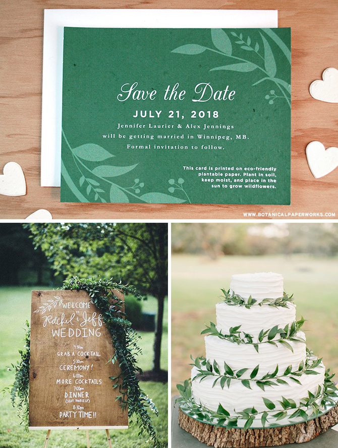 Fresh and timeless, greenery details are perfect for couples who love #natural elements. See more #greenery inspiration & take a look at more pieces in this NEW #ecofriendly #wedding collection!