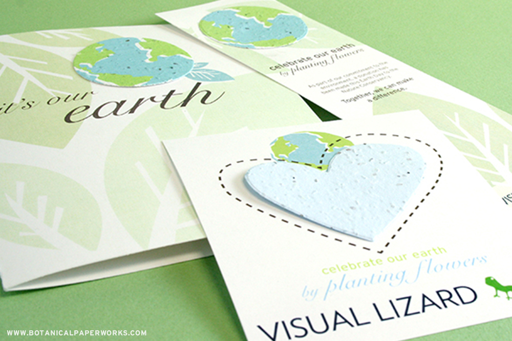 "Pre-designed Earth Day promotions that include the copy ""Celebrate our Earth by planting flowers"" and ""It's Our Earth"""