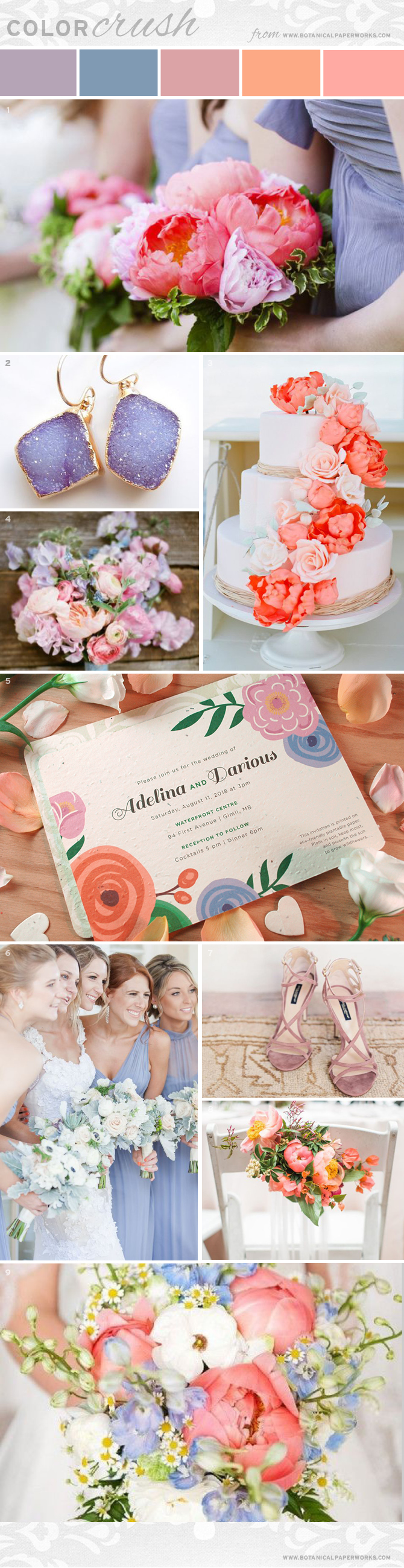 Flirty and feminine, the coral, blush and periwinkle color palette features in this Color Crush Inspiration Board are perfect for summer weddings. If you're an upcoming bride, take a look and get inspired!