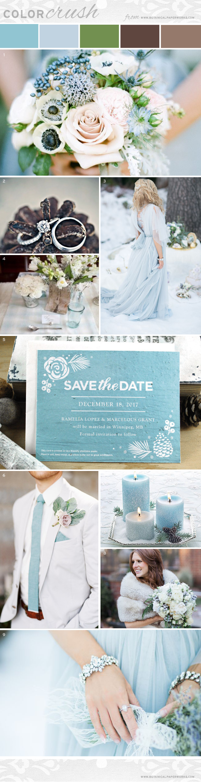 Elegant and romantic, our latest Color Crush #InspirationBoard features soft blue, umber and moss for a whimsical and captivating #wedding palette. #bridetobe #bride #weddingplanning