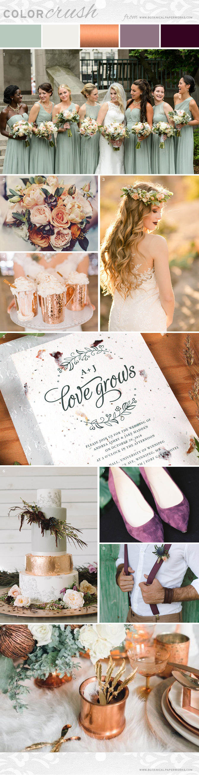 On trend, unique and perfect for autumn weddings, this color crush inspiration board features greyed jade, copper touches and deep plum accents. Find out how to create this look!