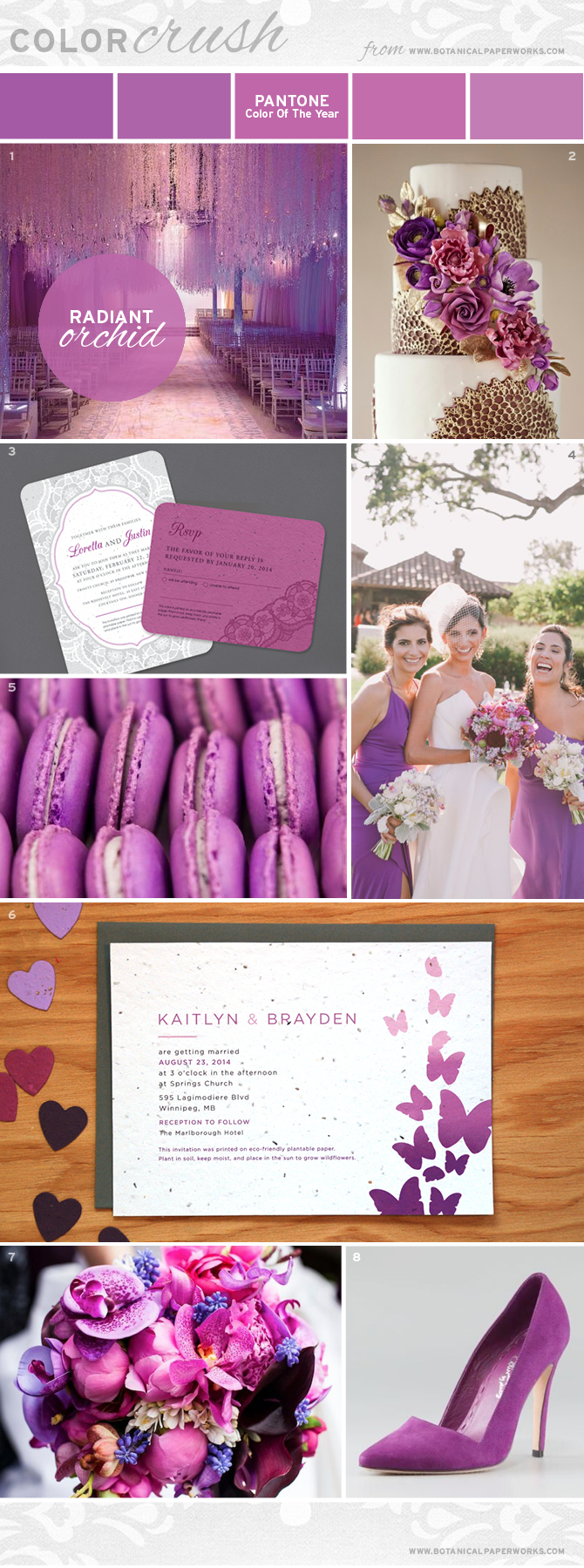 From flowers and invites to cookies and pumps, this perfectly-pinnable Radiant Orchid Color Crush is sure to spark your imagination.