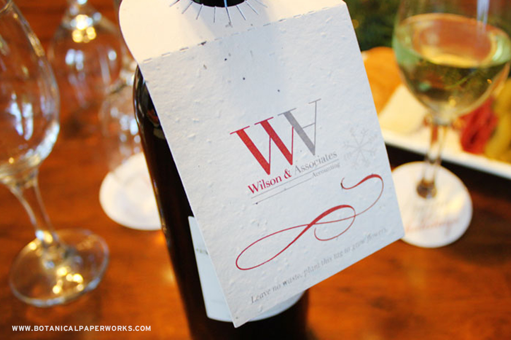 Adorn your wine bottles with seed paper bottle neck tags to ensure your brand gets noticed.