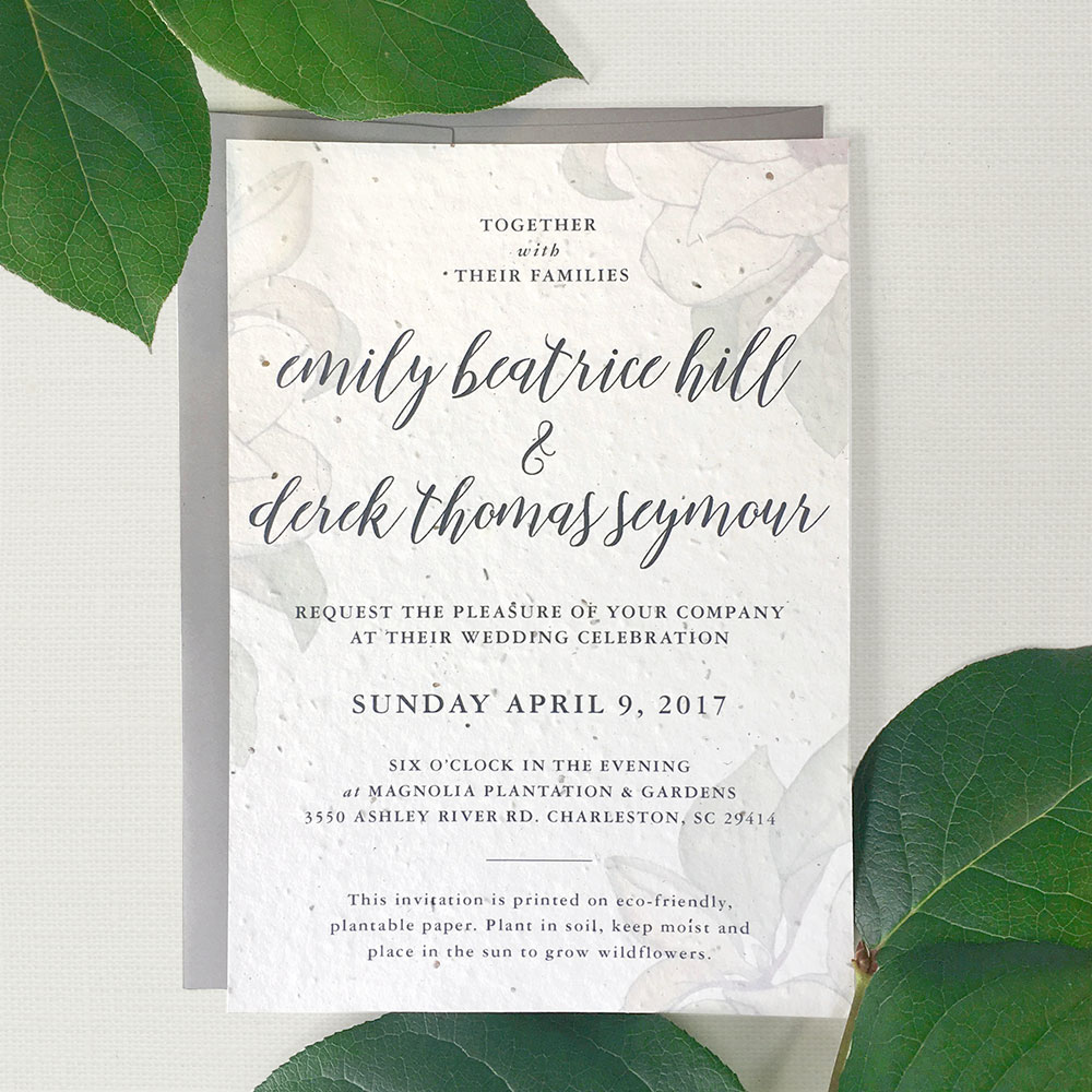 This pretty wedding invitation was inspired by magnolias and is custom printed on seed paper from Botanical PaperWorks so it will grow when planted in soil. No waste, just wildflowers!