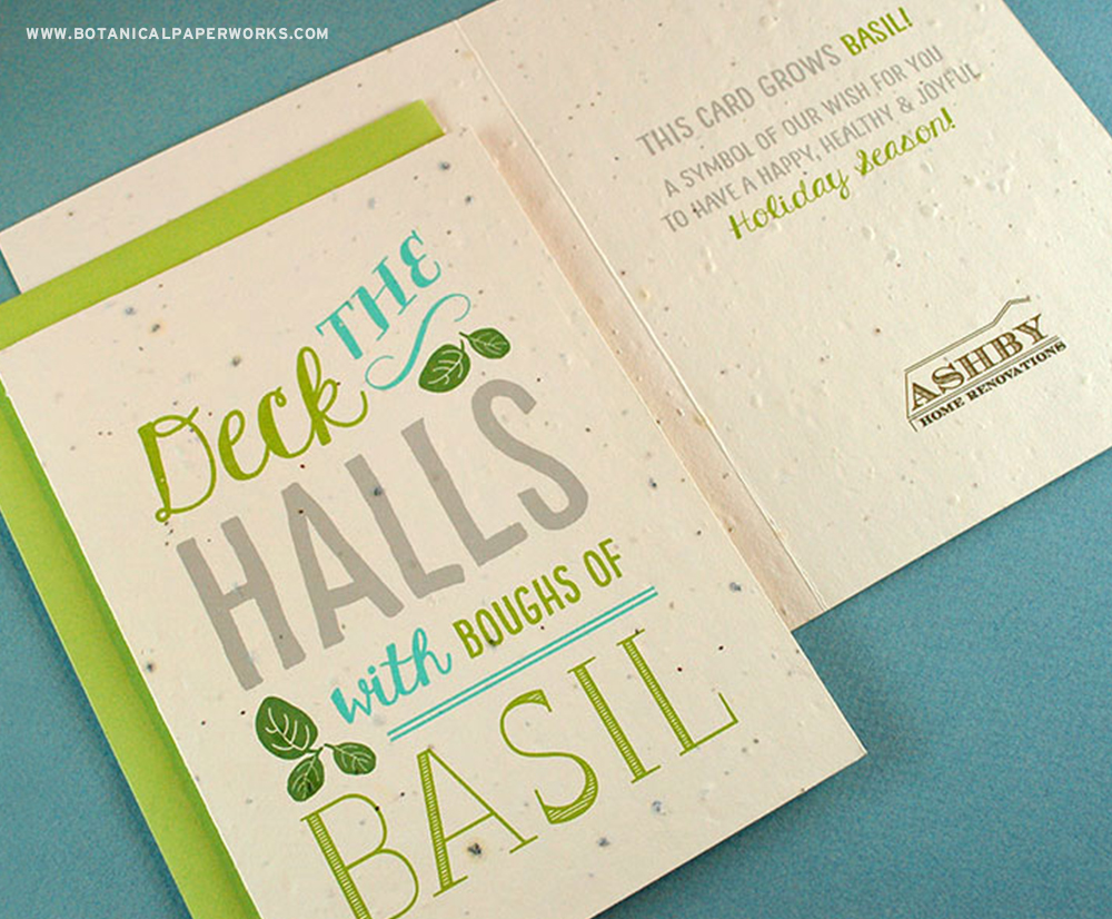 This delightful business holiday card is so unique because it actually grows basil! #seedpaper #christmascards