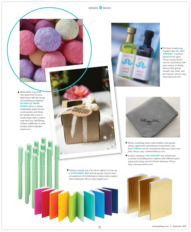 We're thrilled that Denver Life Weddings chose to feature our Bulk Seed Bombs in their Fall/Winter issue!