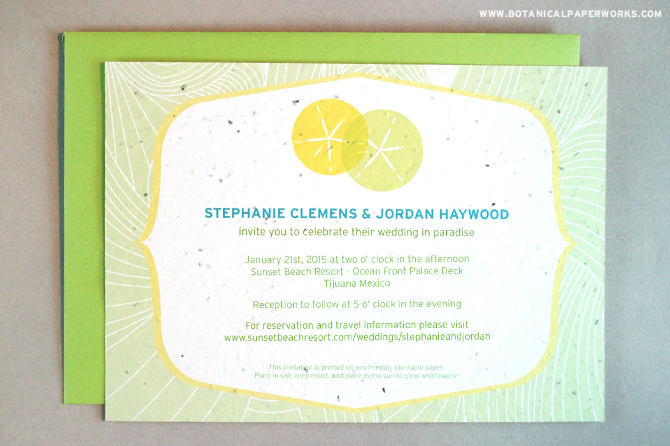 Send your guests an invite to Destination Weddings using these Sand Dollar Plantable Invitations.