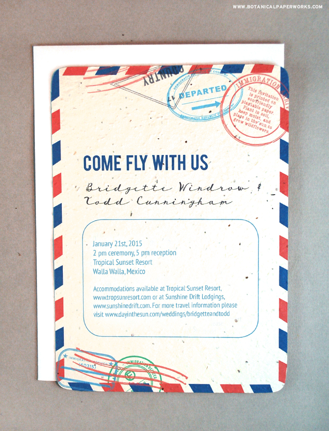 Invite your guests to fly away for Destination Weddings and celebrate your day with these Plantable Passport Wedding Invitations.