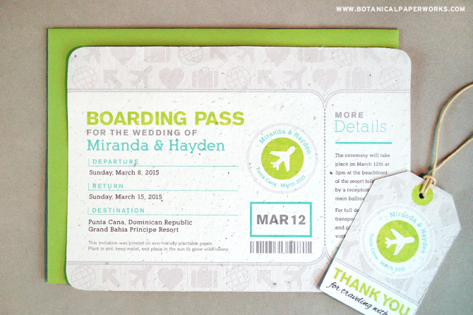 The Boarding Pass Wedding Invitation is made for destination weddings in all types of locations.