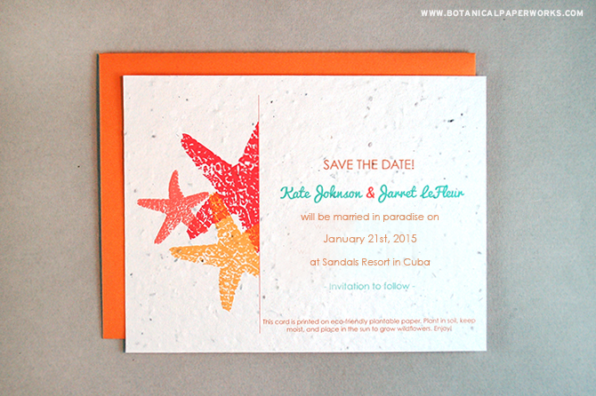 This seed paper Starfish Save the Date card is perfect to build excitement for tropical Destination Weddings.