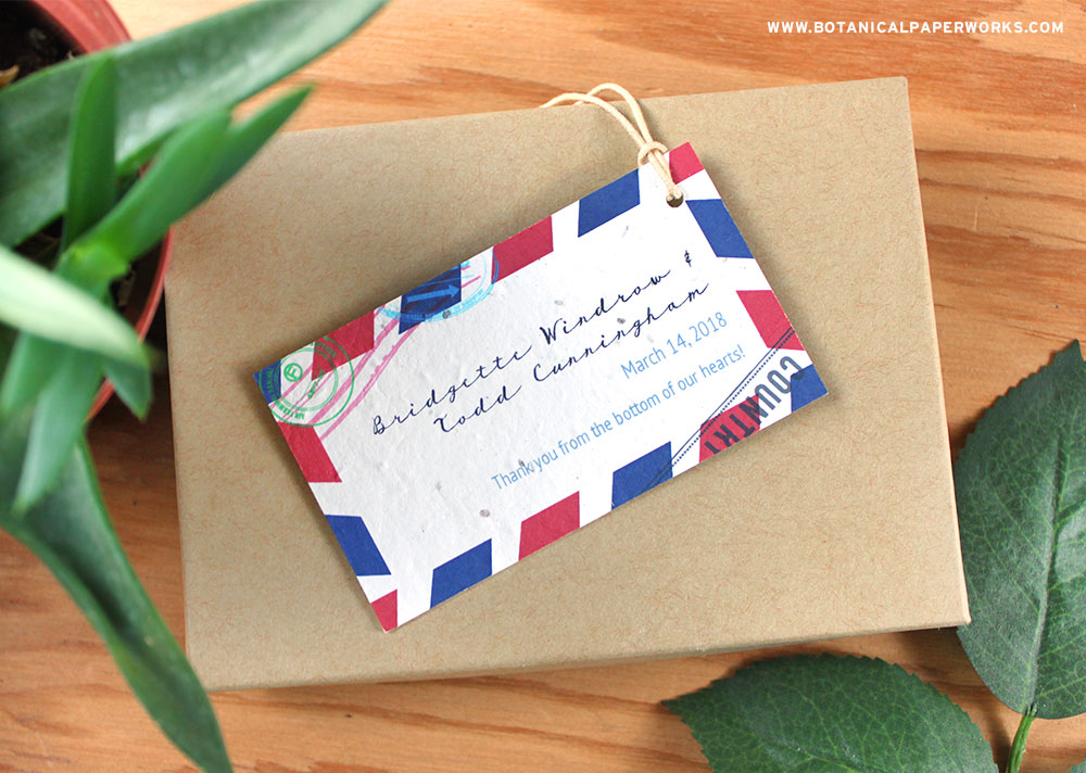 These travel inspired Plantable Passport Favor Tags are a favorite and are the perfect way to top off your destination wedding favors.
