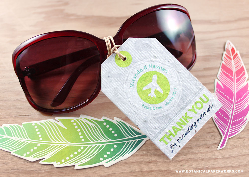 No matter what your destination may be, these creative Boarding Pass Plantable Favor Tags are an adorable way to complete you wedding favors.