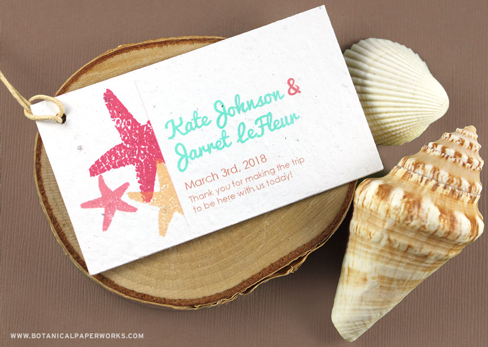 Made for a beach theme, these Plantable Starfish Favor Tags say thank you in a way that won't end up a landfill.