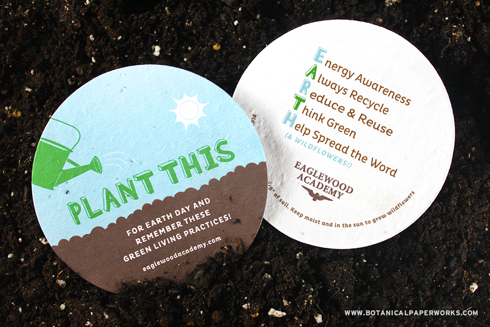 Take a look at how you can customize your Earth Day ideas for a variety of seed paper products.
