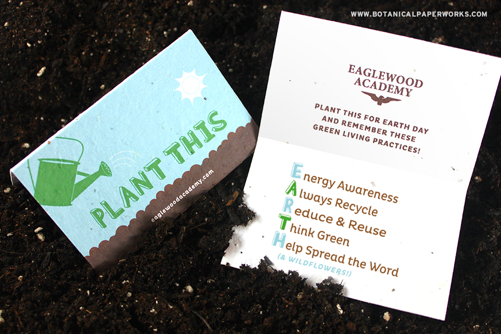 Take a look at this unique Earth day idea for seed paper promotional products.