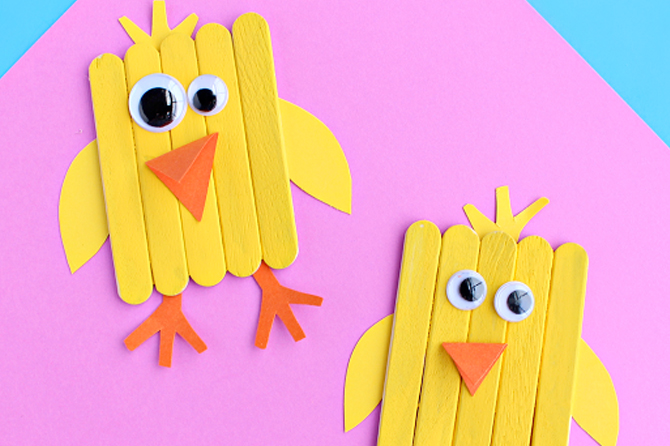 Take a look at a variety of Easter craft project ideas including these colorful and fun popsicle chicks.