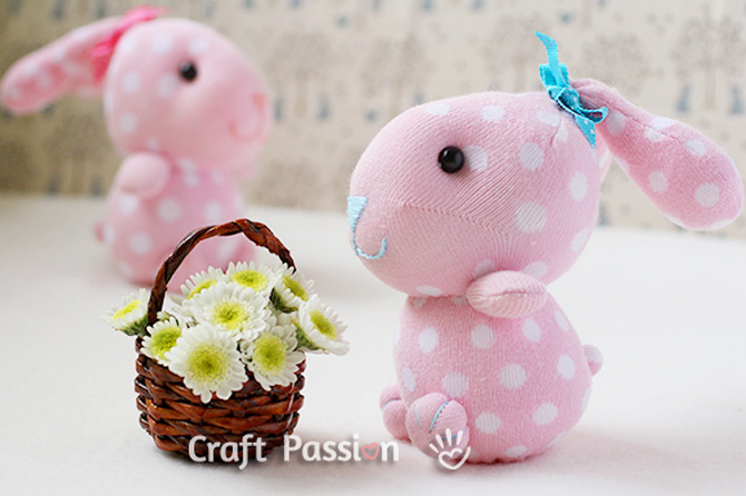 Take a look at these Easter craft project ideas including these sweet sock rabbits.