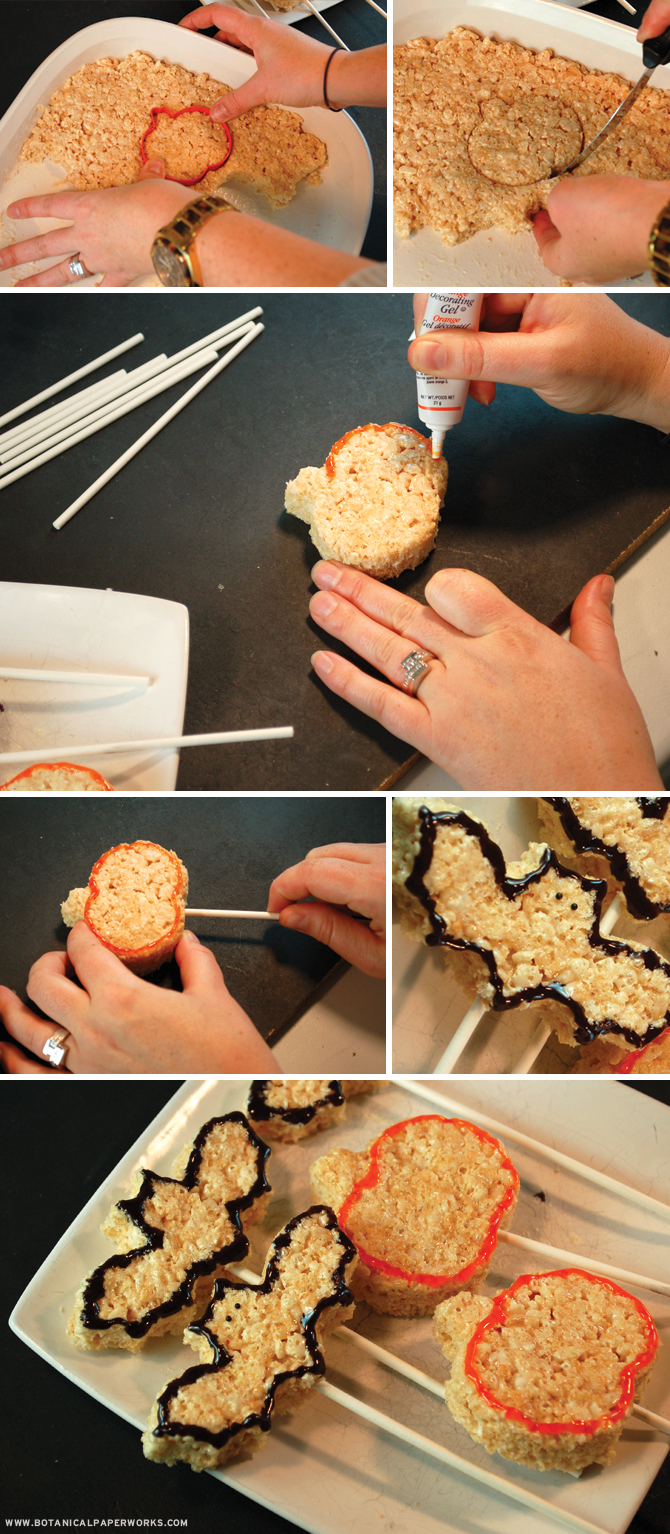 Here's a great tutorial for how to make the cutest Halloween Rice Krispie Treats with the kids this Halloween.
