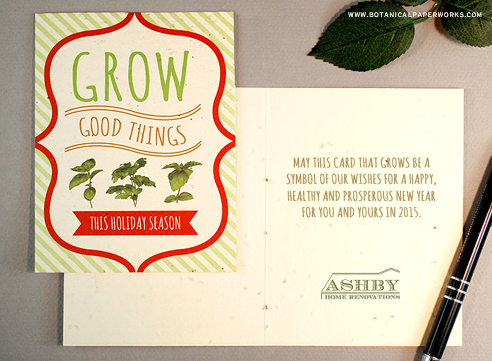 Choose a custom message from this list of suggestions or send us your own to print inside a seed paper card that grows.