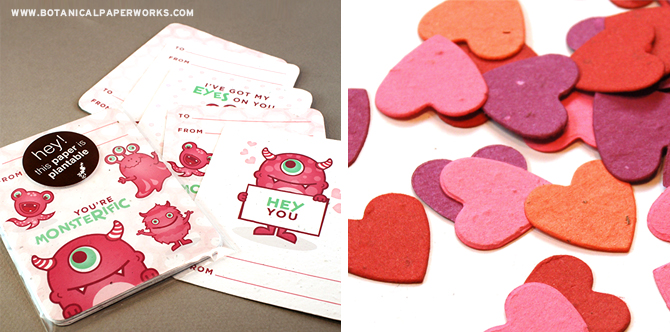 Your children will love these sweet seed paper Monster Valentine's Day cards and the heart-shaped confetti pieces!