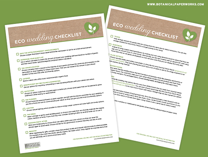 Download this FREE Eco-friendly Wedding Checklist to find tips and reminders for planning a green and sustainable wedding. With pointers for invitations, catering, transportation and MORE, you'll have all you need to know to plan the #ecofriendlywedding of your dreams!