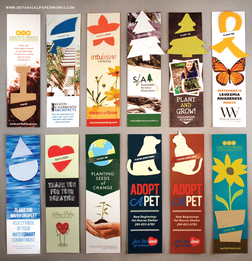 Large Eco Bookmarks with Slot are available with a variety of plantable shape options and colors.