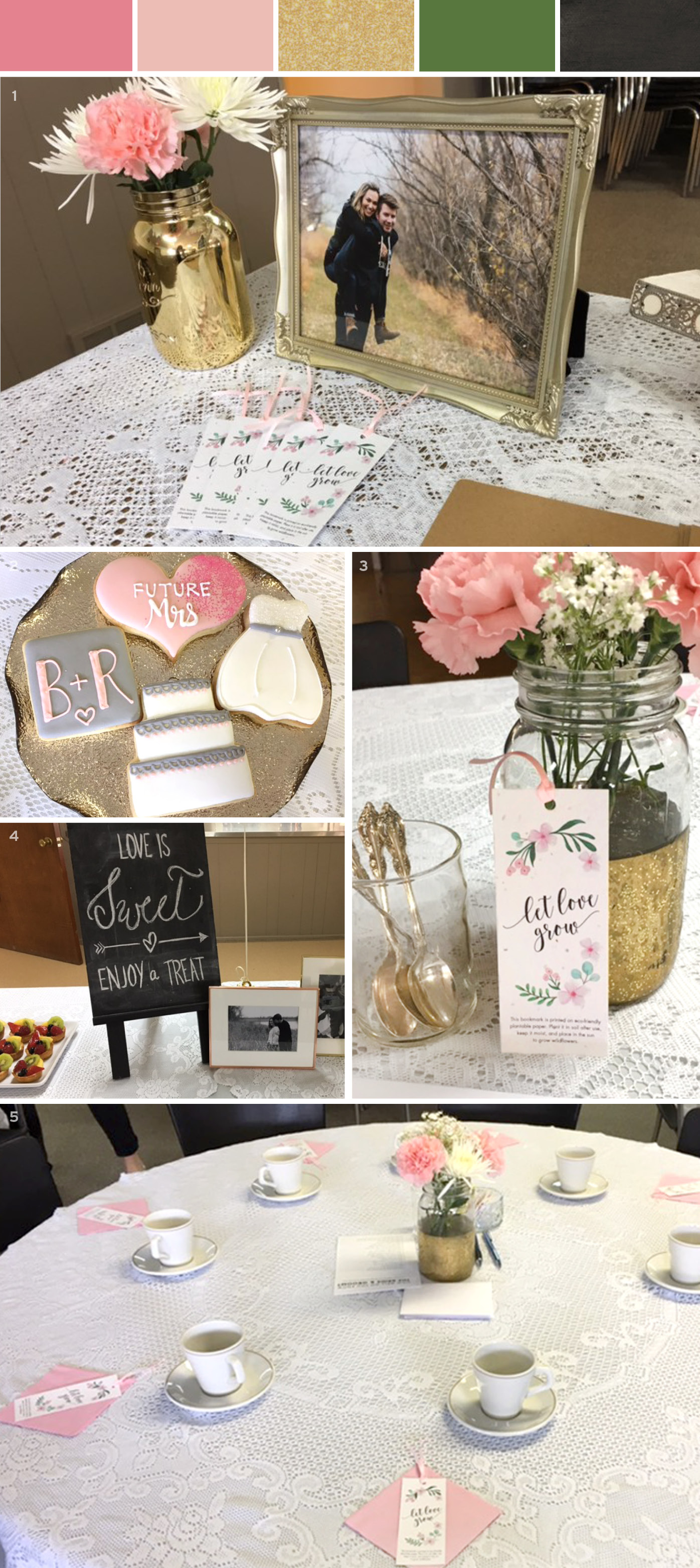 Take a look at how seed paper bookmark wedding favors were used at this beautiful bridal shower with a classy vintage look.