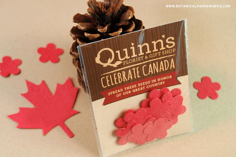 This fun eco-friendly package features 20 plantable confetti flower shapes to spread the joy of planting this Canada Day.