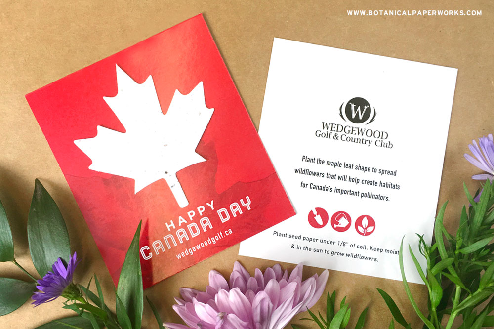 Attach a seed paper maple to your next Canadian promotion to spread wildflowers and add an eco-friendly message.