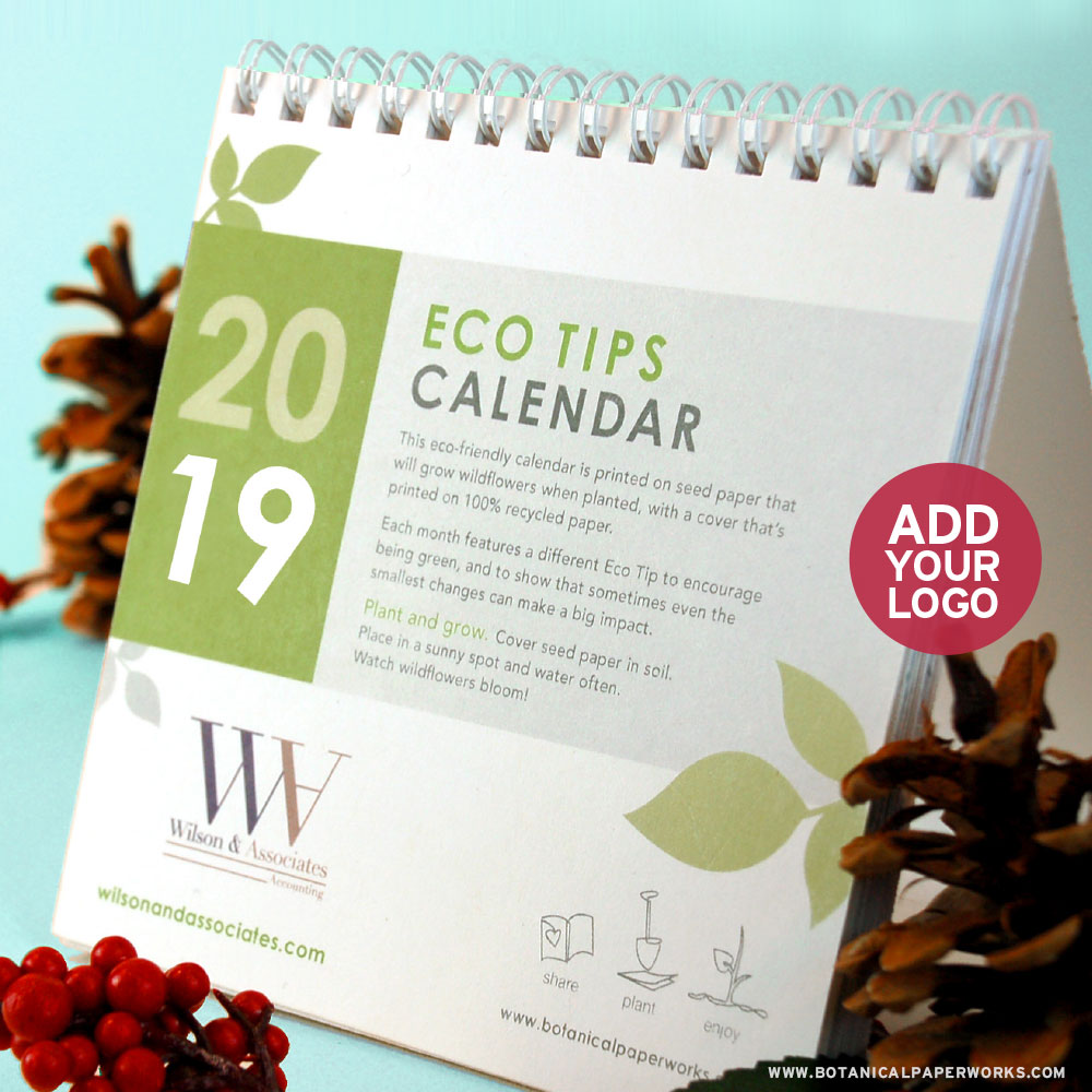 Plantable Seed Calendars featuring your branding make great eco-friendly corporate gifts that recipents can plant and enjoy all year long!