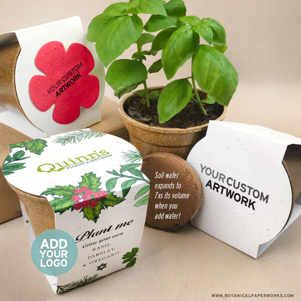A symbol of growth and prosperity, clients, and colleagues will love this blooming gift that gives everything you need to grow wildflowers or herbs in a biodegradable rice pot.