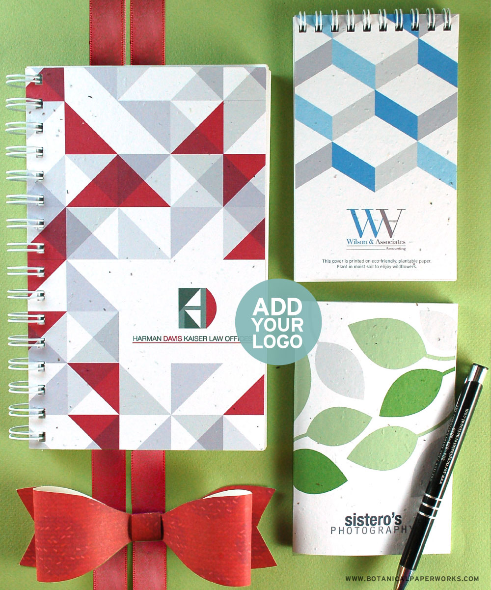 Plantable Journals, Notebooks, & Notepads are a great useful corporate gift that also gives a bonus gift to plant!
