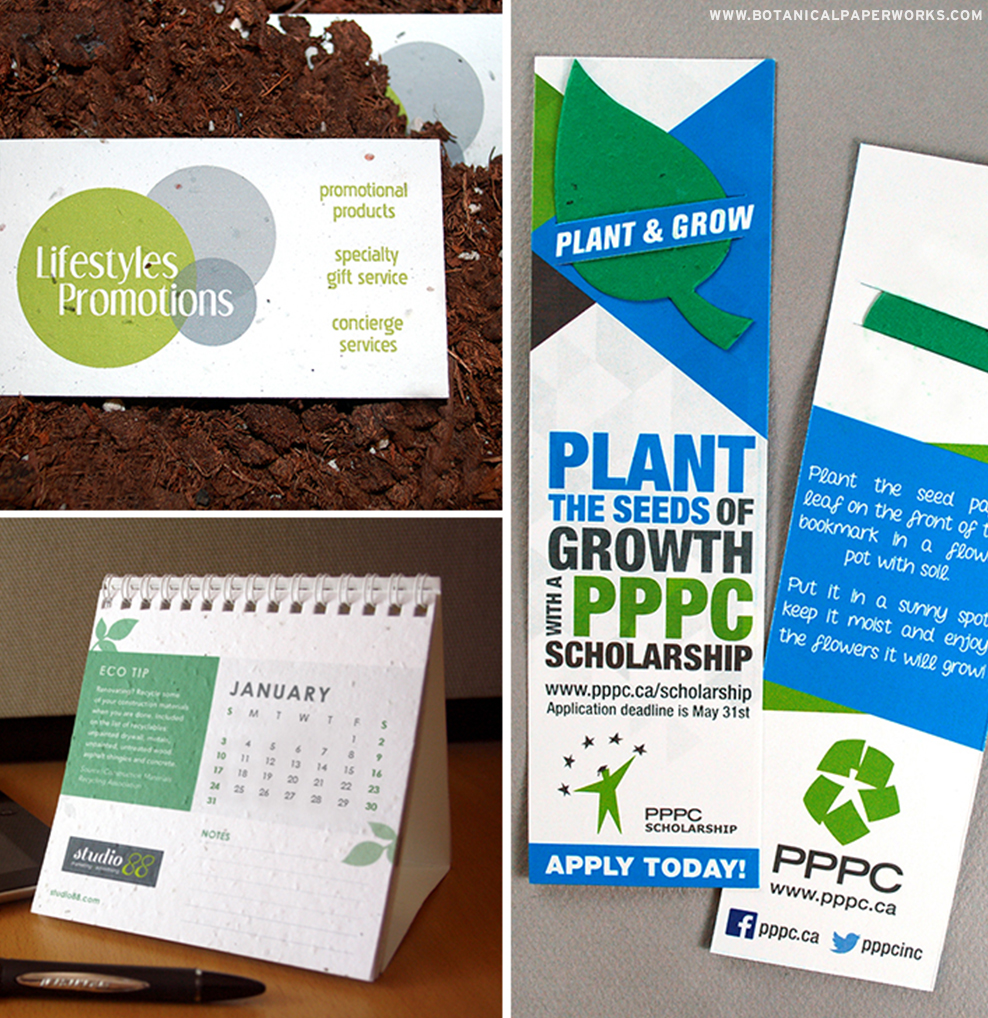 With a variety of products to choose from including Seed Paper Business Cards, Seed Paper Calendars or Seed Paper Bookmarks, these products are great for branding because you can include your name, logo, website URL or even a marketing message!