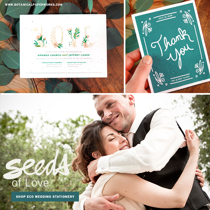 Shop seed paper wedding invitations for eco-friendly weddings. #seedpaper #ecofriendly #weddinginvitations