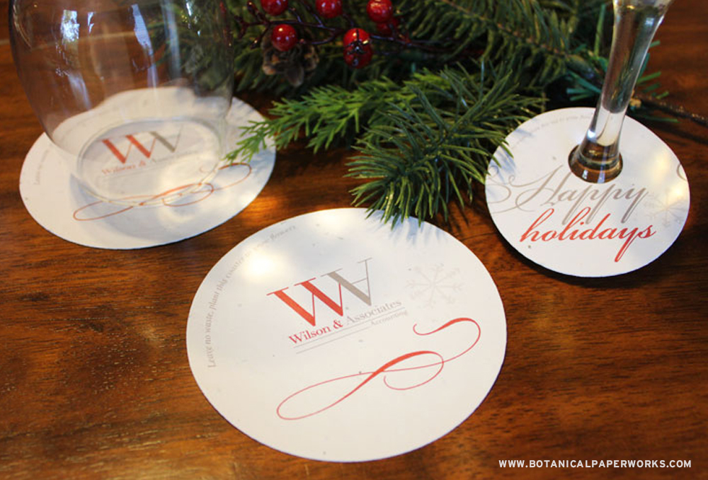 Both beautiful and functional, seed paper coasters look great on tables and bar tops.
