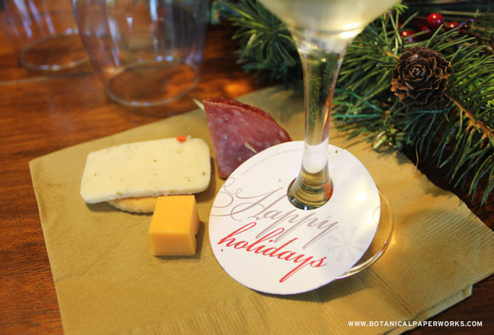Elegant and eco-friendly, these seed paper wine glass tags are perfect for a corporate wine and cheese event.