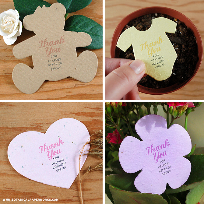 These Seed Paper Baby Shower Favors are a perfect way to make eco-friendly baby showers special and memorable without creating all kinds of excess waste.