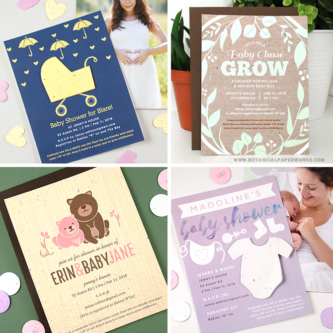 These Seed Paper Baby Shower Invitations are perfect for those planning eco-friendly baby showers! When recipients make note of the details, they can plant the seed paper to grow wildflowers!