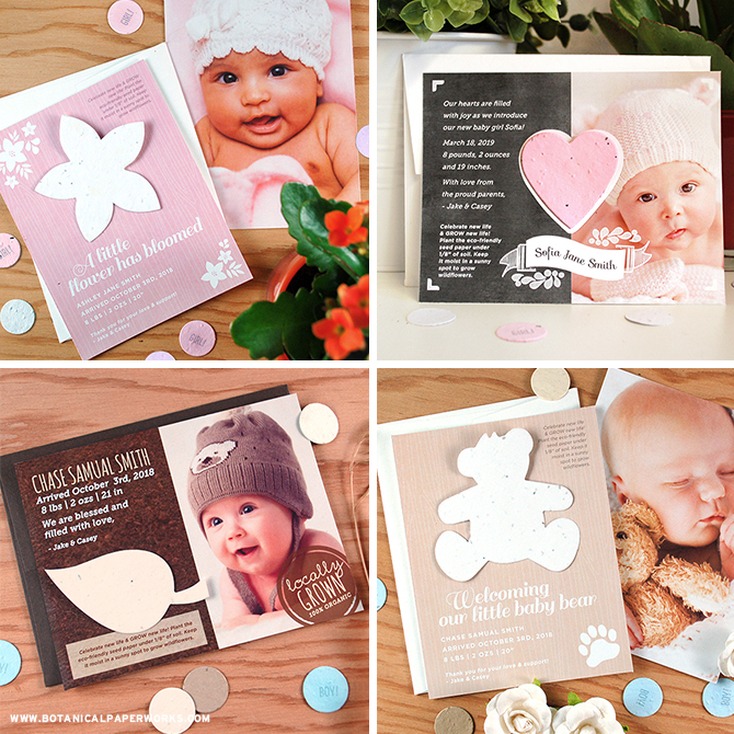 These adorable Plantable Photo Birth Announcements are an eco-friendly way to announce the birth of your new little one. Friends and family will be able to celebrate new life by growing new life!