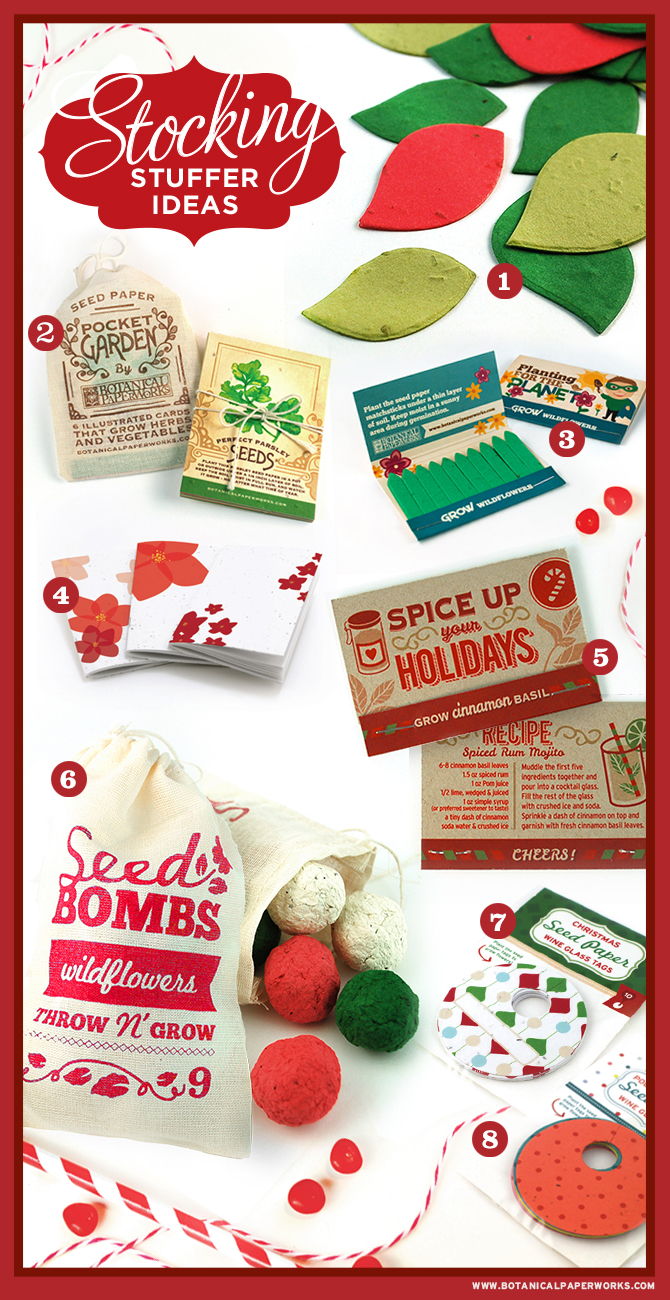 Eco-friendly, unique and just the right price - check out these plantable stocking stuffer ideas!