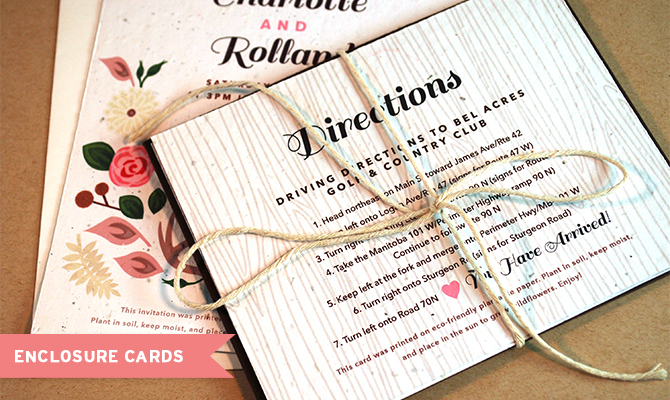 Plantable Wedding RSVPs Cards Customized Into Enclosure Cards By Botanical PaperWorks