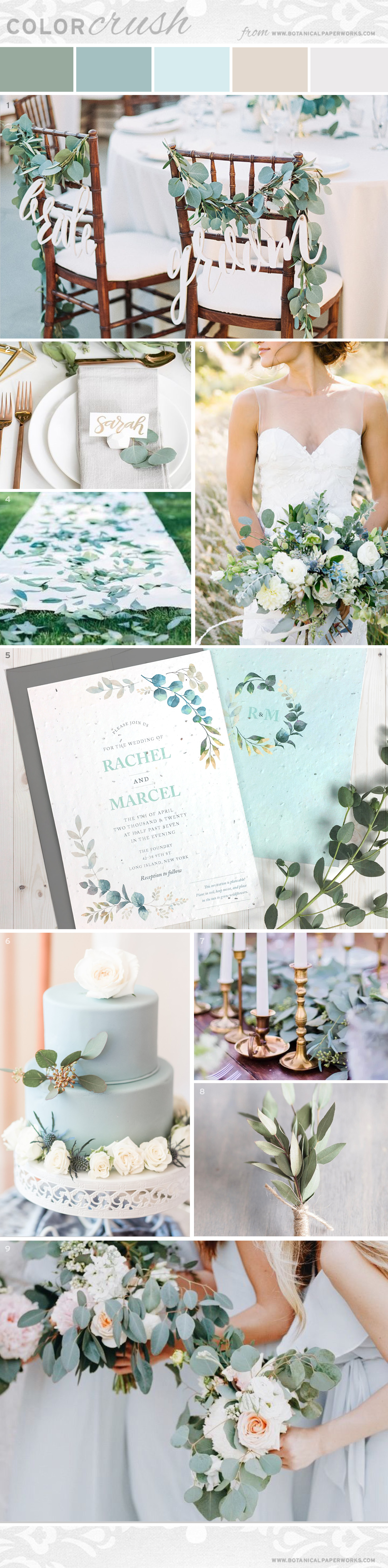 Wedding inspiration roundup featuring eucalyptus with other soft and subtle greenery, ivory, and just a touch of gold.