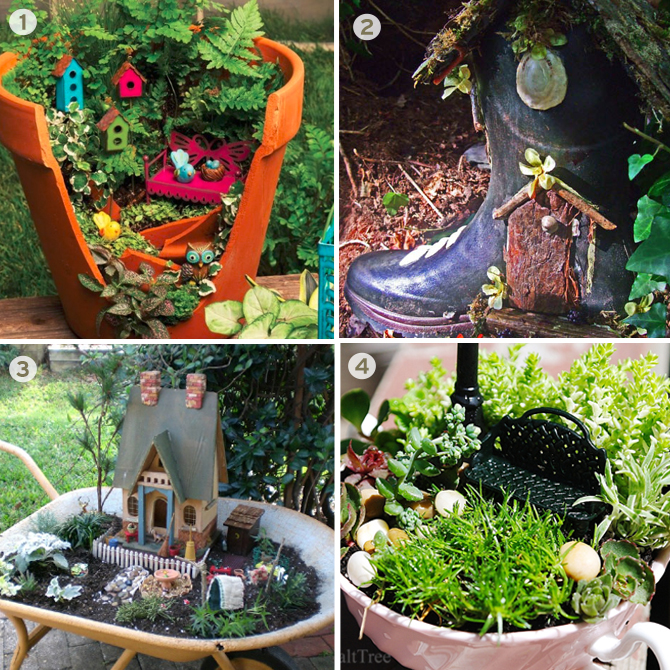 From tea cups to wheel barrels, there are tons of opportunies for creative spots to put a fairy garden.