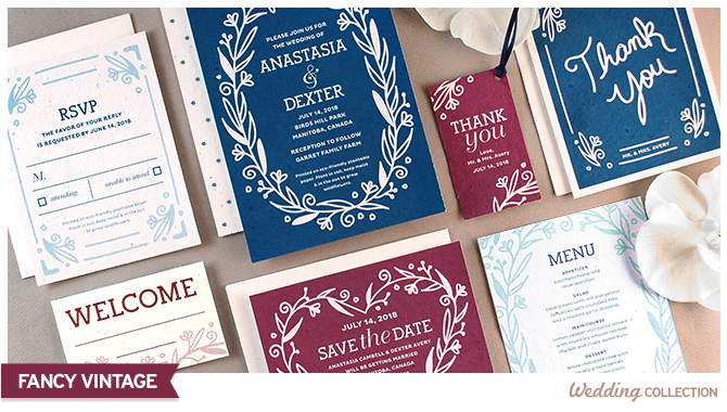 Set the mood for your vintage-inspired event with this Fancy Vintage Seed Paper Wedding Stationery Collection that features floral and vine details on rich background colors. Perfect for couples who love timeless yet unique weddings!
