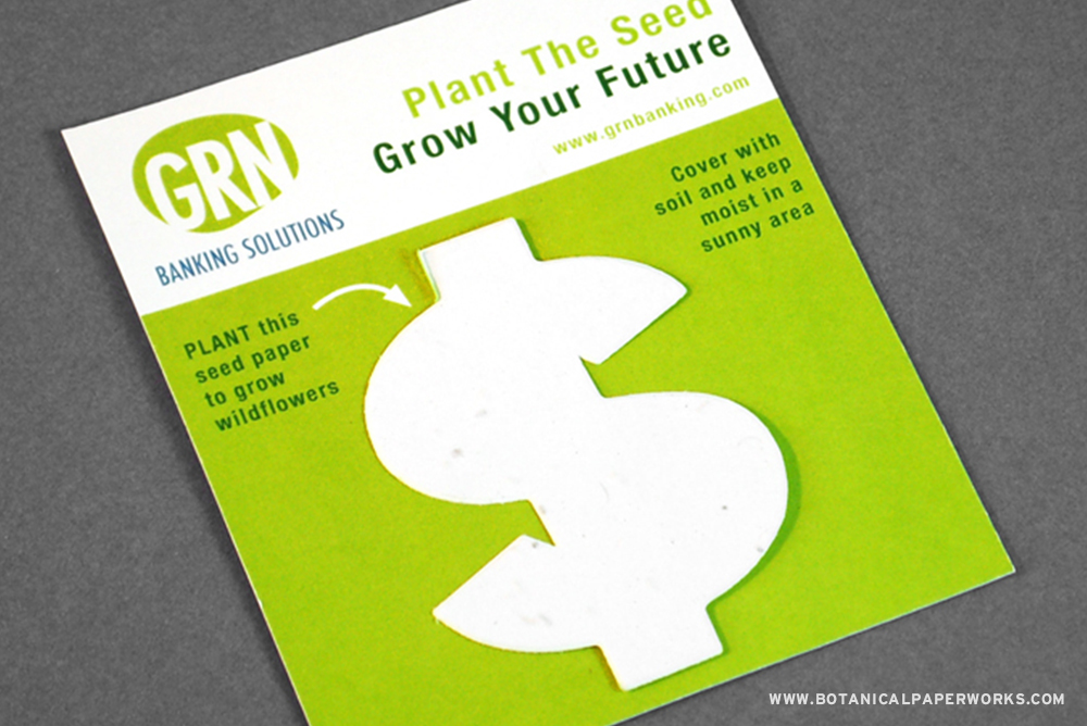 Panel cards with a seed paper shape come in a variety of shapes, sizes and color options.
