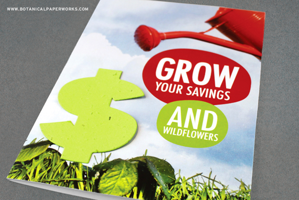 Send a message that features a plantable seed paper dollar sign to symbolize growth and prosperity.