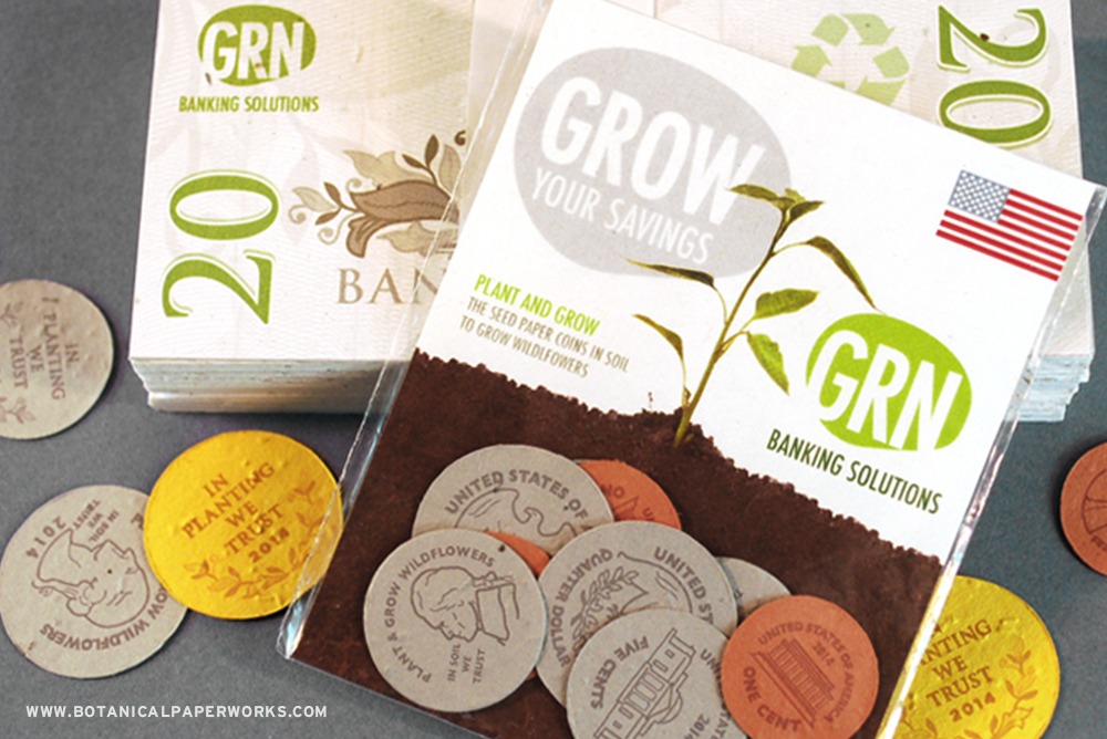 Grow your client base with Seed Paper Coins and Bills that grow flowers. A perfect promotion for banks or investment firms.