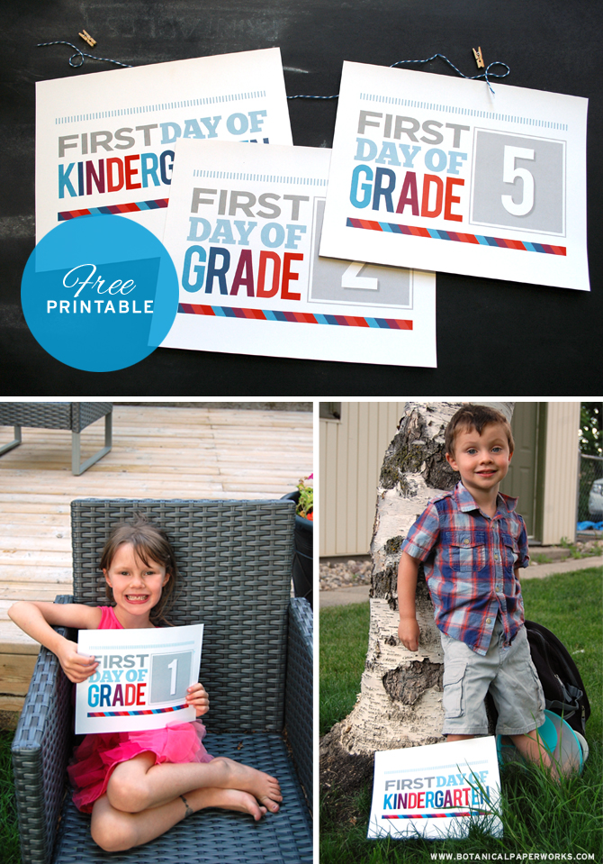 Love this idea! What a great set of First Day of School Sign Free Printables from the stylists at Botanical PaperWorks, I'll for sure try this out!